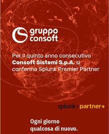 Per il quinto anno consecutivo Consoft Sistemi S.p.A. si conferma Splunk Premier Partner