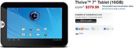 Toshiba - nuovo tablet Thrive da 7 pollici con Android 3.2
